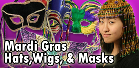 Mardi Gras Hats, Wigs and Masks